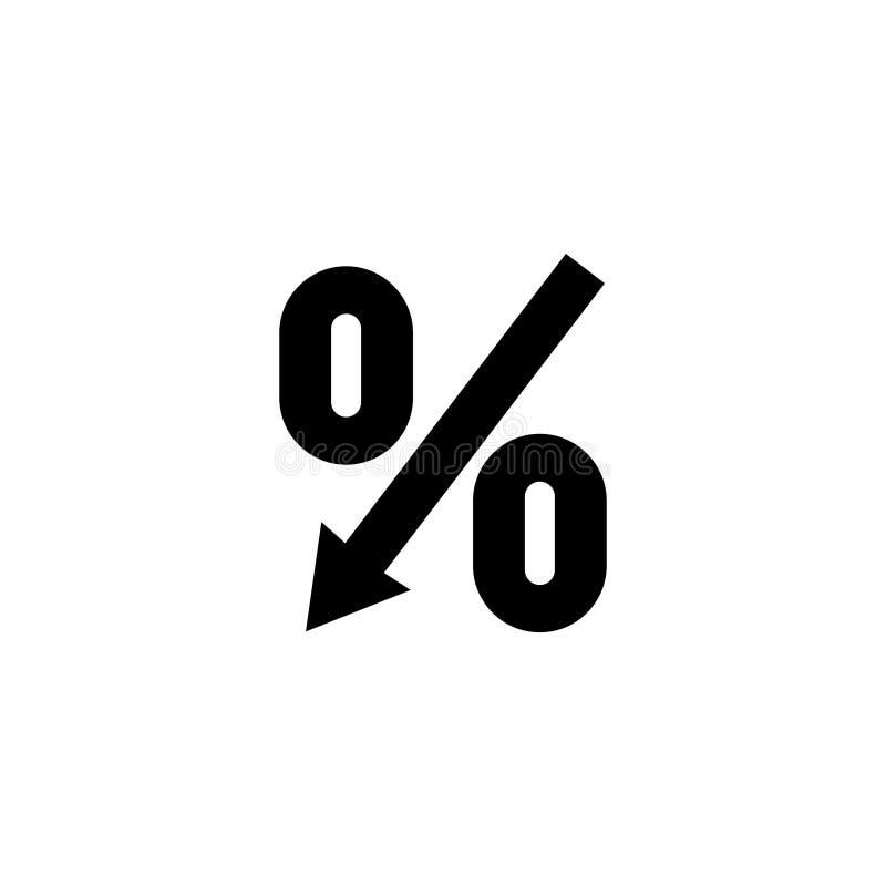 Del por ciento icono plano del vector de la flecha abajo libre illustration