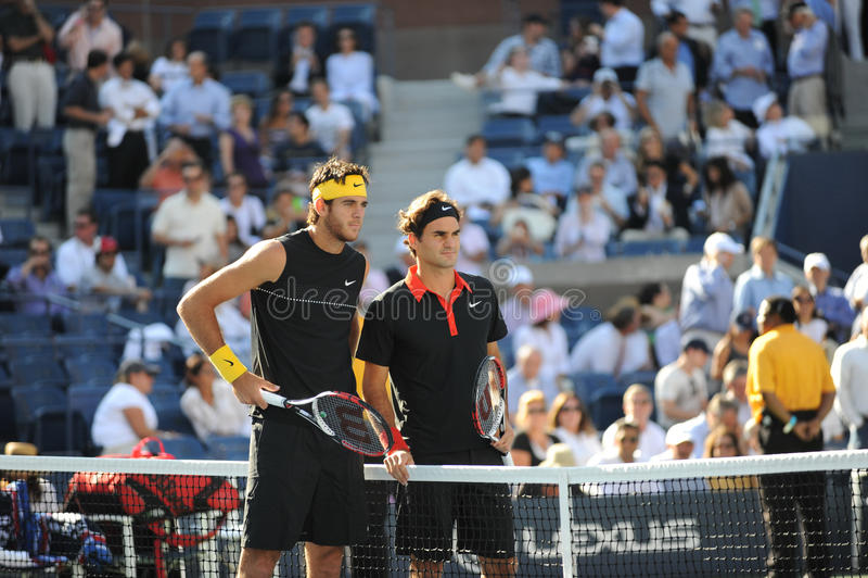 Del Potro en Federer in de definitieve V.S. openen 2009 stock afbeeldingen