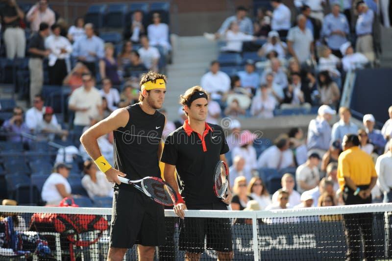 Del Potro und Federer in abschließenden US öffnen 2009 stockbilder