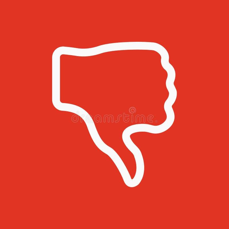 Del pulgar el icono abajo Rechazado y no, símbolo negativo plano stock de ilustración
