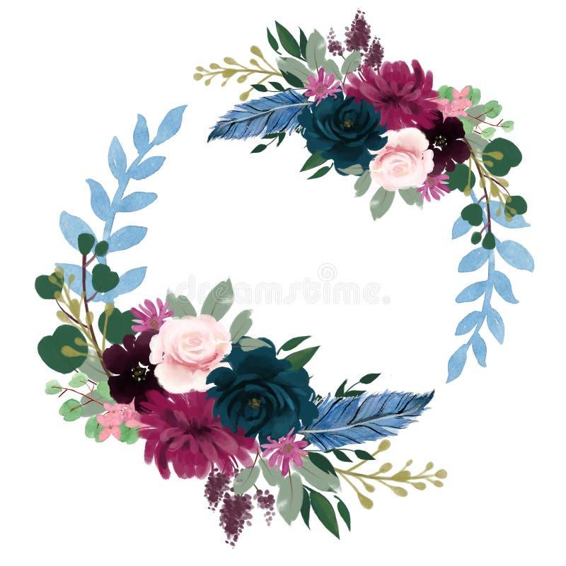 Del ramo floral de la tarjeta roja de la noche de la acuarela del rosa floral romántico de la composición frontera púrpura del ma ilustración del vector