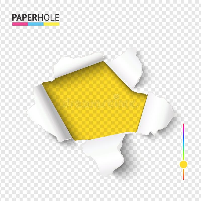 Del rasgón bandera de papel brillante del agujero apagado con el borde rasgado de la cartulina en el fondo transparente para los  ilustración del vector
