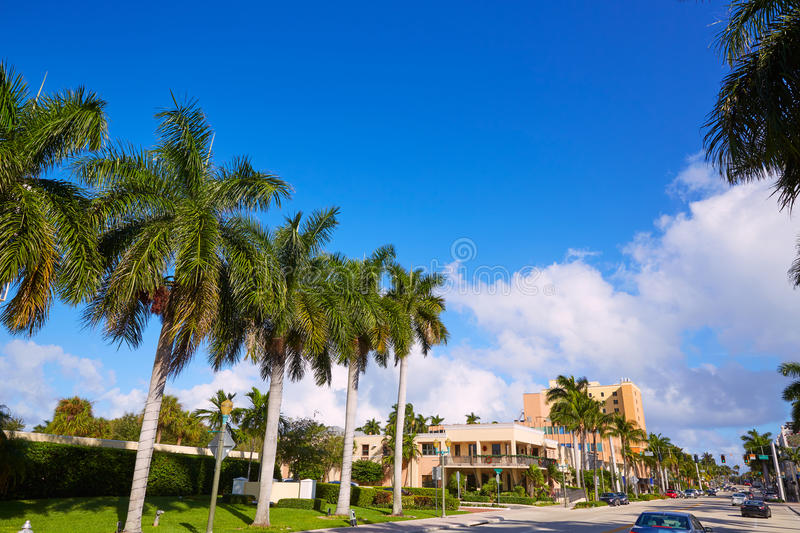 Del Ray Delray beach Florida USA. Del Ray Delray beach in Florida USA Palm trees street royalty free stock photography