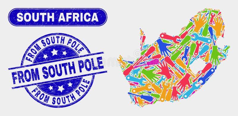 Del- söder - afrikansk republiköversikt och nödläge från Antarktisstämpelskyddsremsor vektor illustrationer