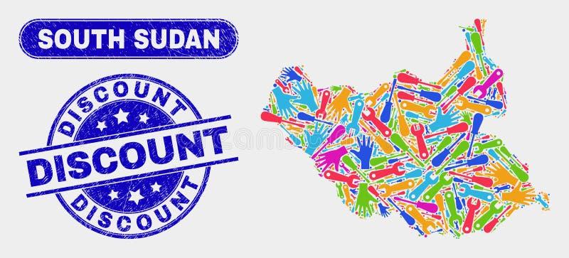 Del- södra skyddsremsor för Sudan översikts- och Grungerabatt stock illustrationer
