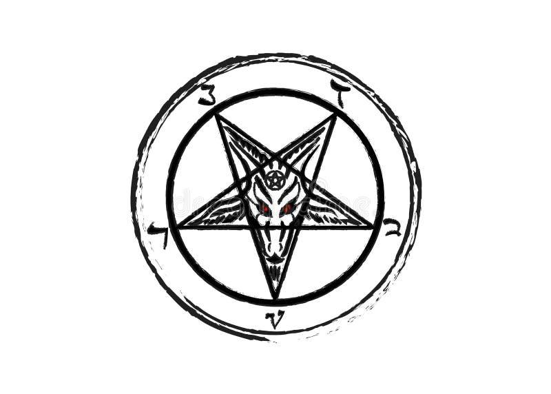 Del Sigil del fondo original del Pentagram de la cabra de Baphomet, aislado o blanco ilustración del vector