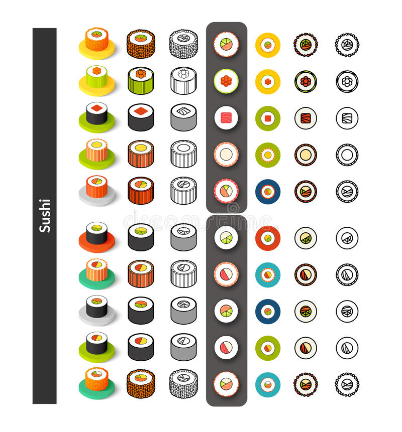 Del sistema de iconos en diverso estilo - versiones isométricas del plano y del otline, coloreado y negro libre illustration
