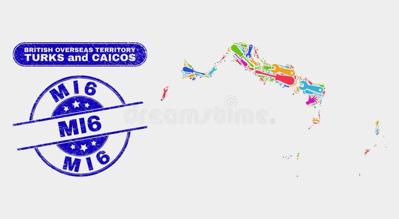 Del- skyddsremsor för för Turks- och Caicosöarna översikts- och Grunge MI6 stämpel stock illustrationer