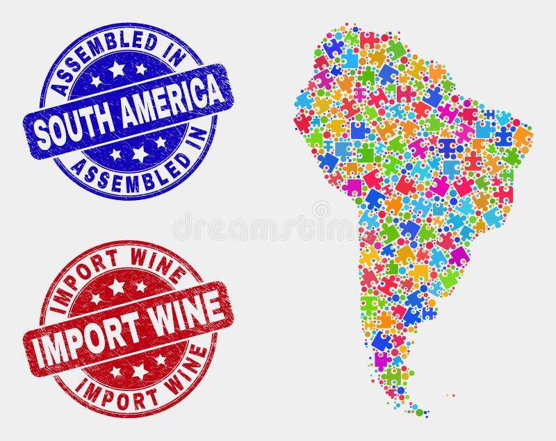 Del- Sydamerika översikt och att bedröva församlade och importvinskyddsremsor vektor illustrationer