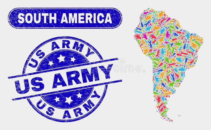 Del- Sydamerika översikt och Grunge oss arméstämplar stock illustrationer