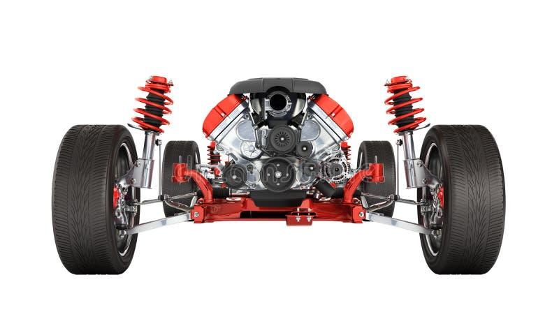 Del telaio sospensione dettagliatamente dell'automobile con la ruota ed il motore isolati su fondo bianco 3d senza ombra illustrazione di stock