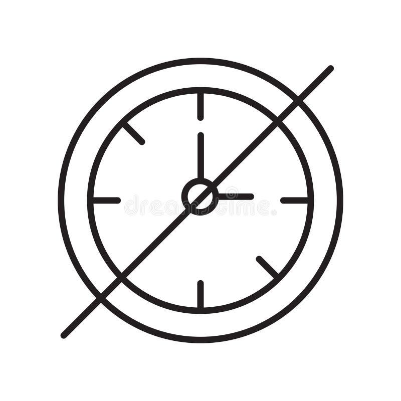 Del tiempo vector del icono hacia fuera aislado en el fondo, la muestra del tiempo hacia fuera, la muestra y los símbolos blancos libre illustration