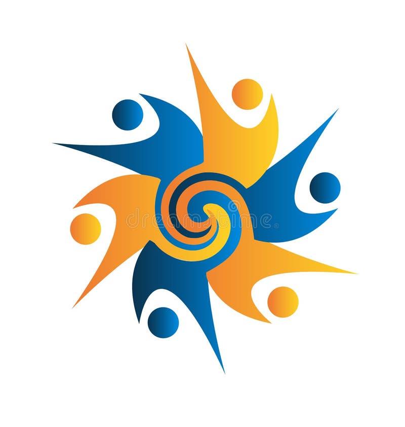 Del trabajo en equipo del logotipo swirly hombres de negocios libre illustration