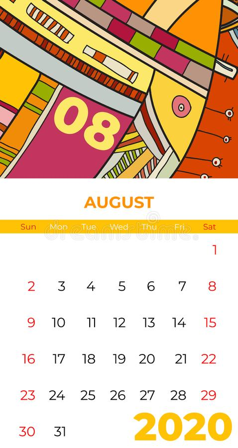 Del 2020 vector del arte contemporáneo del extracto del calendario de agosto Escritorio, pantalla, mes de escritorio 08, 2020, co stock de ilustración