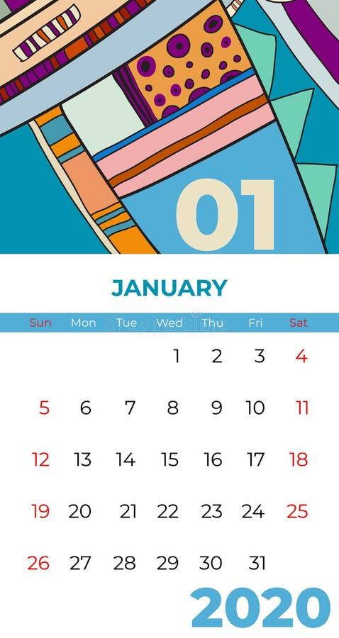 del 2020 vector del arte contemporáneo del extracto del calendario de enero Escritorio, pantalla, mes de escritorio 01, 2020, col stock de ilustración