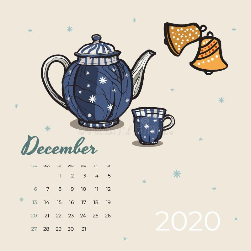 Del 2020 vector del arte de la comida y del té del calendario de diciembre Calendario bosquejado fiesta del té Página de diciembr libre illustration