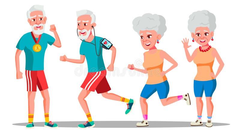 Del vector del basculador personas mayores Pares del basculador Entrenamiento activo de la salud Ilustración stock de ilustración