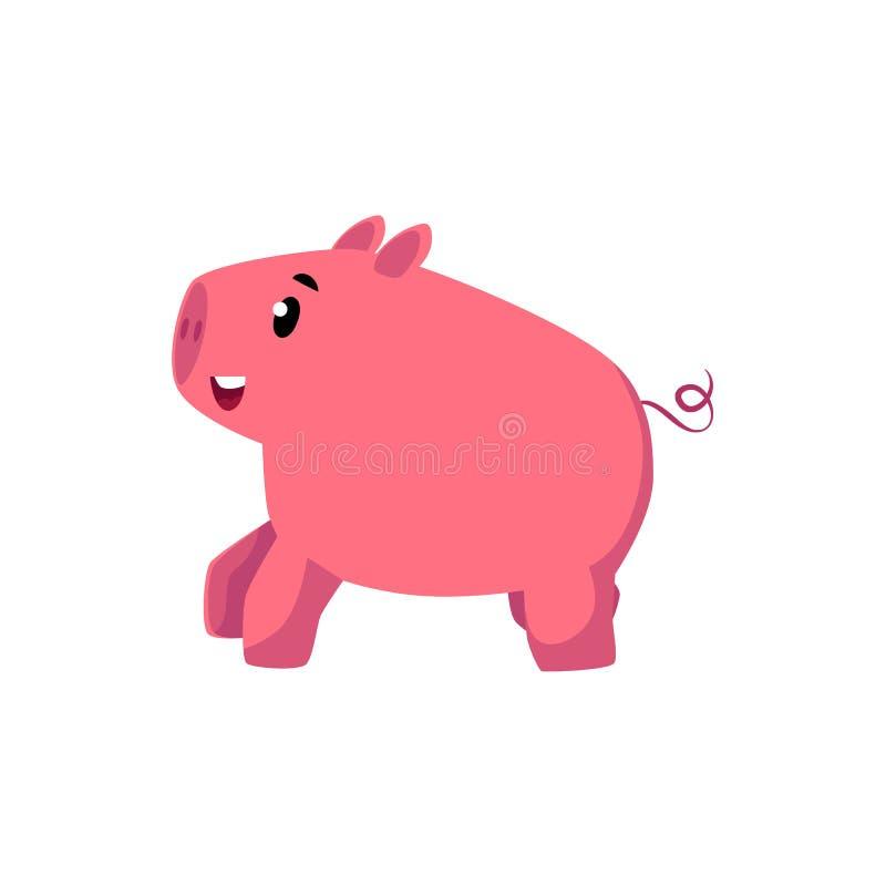 Del vector cerdo estilizado de la historieta del rosa completamente stock de ilustración