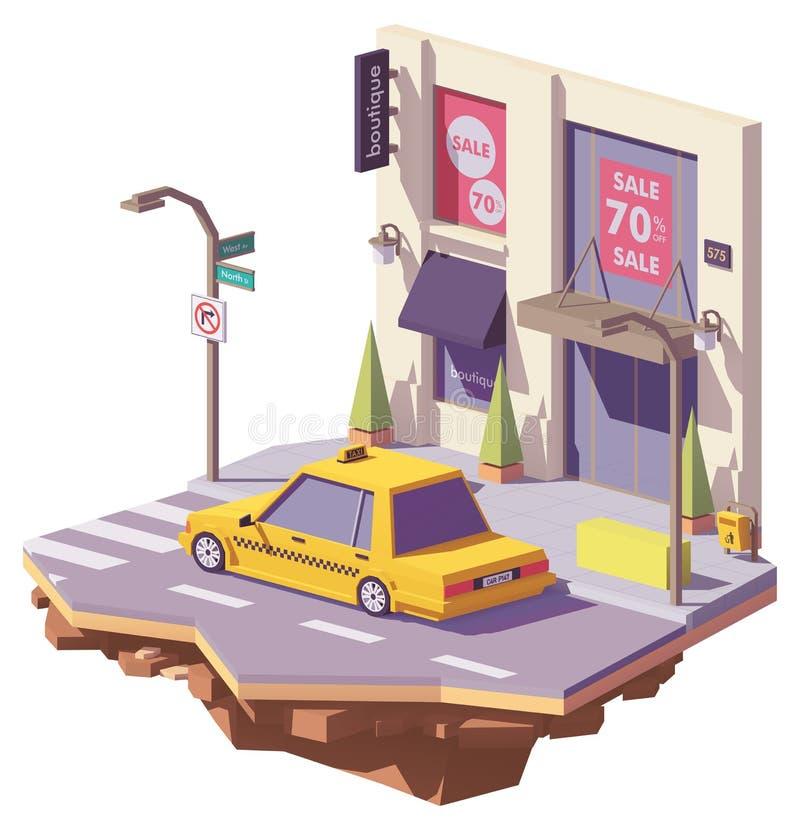 Del vector coche amarillo polivinílico del taxi bajo stock de ilustración