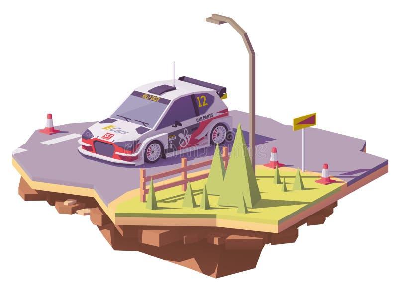Del vector coche de competición polivinílico de la reunión bajo stock de ilustración