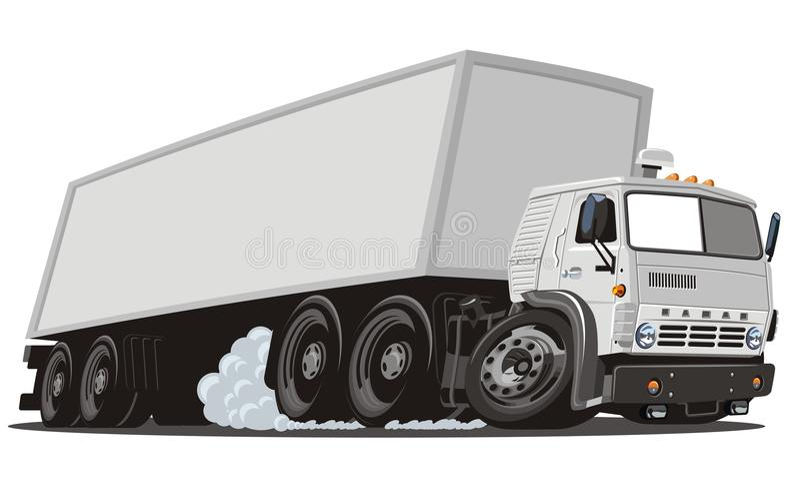 Del vector de la historieta del cargo carro semi stock de ilustración