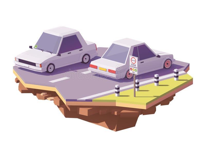 Del vector ejemplo bajo en emisiones polivinílico de la zona bajo stock de ilustración