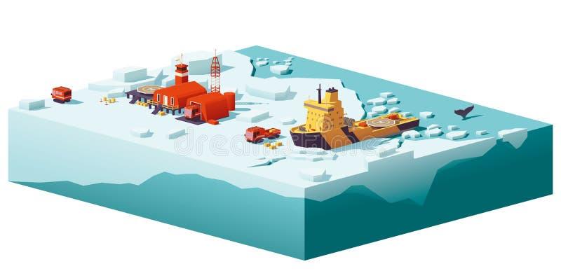 Del vector estación y rompehielos polares polivinílicos bajo stock de ilustración