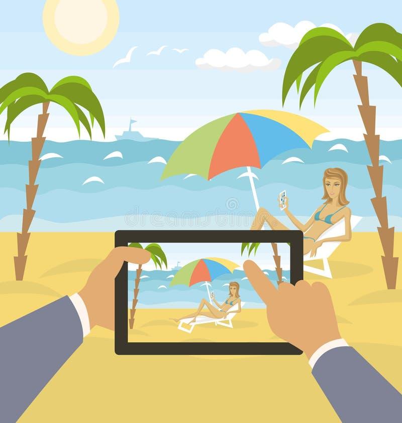 Download Del Vector Paisaje Del Mar De La Historieta Al Aire Libre Ilustración del Vector - Ilustración de humano, paisaje: 42433808