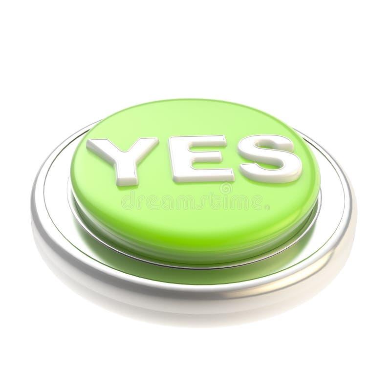 Del verde botón sí brillante   libre illustration
