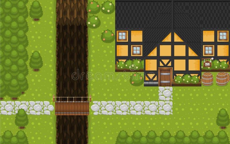 Del villaggio della cima gioco medievale Tileset giù royalty illustrazione gratis