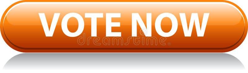 Del voto botón anaranjado ahora ilustración del vector