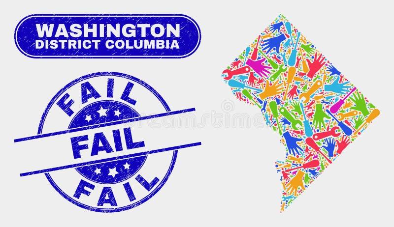 Del- Washington District Columbia Map och Grungekuggningskyddsremsor stock illustrationer