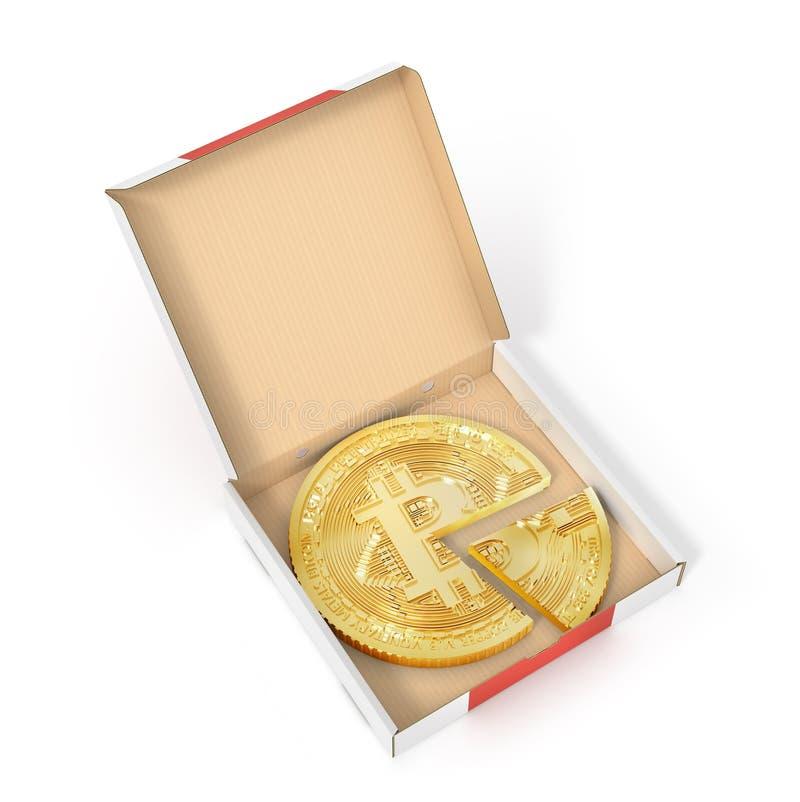 Dela begrepp Bitcoin som en pizza på papppacken vektor illustrationer
