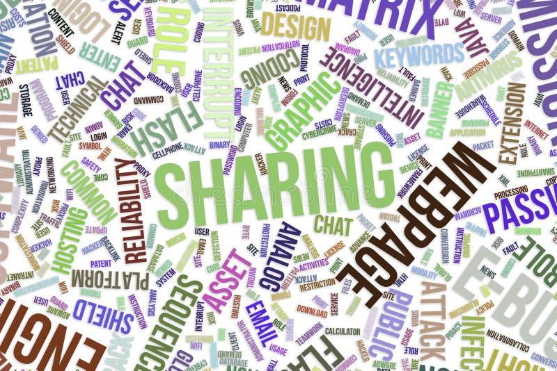 Dela, begreppsmässigt ordmoln för affär, informationsteknik eller IT stock illustrationer