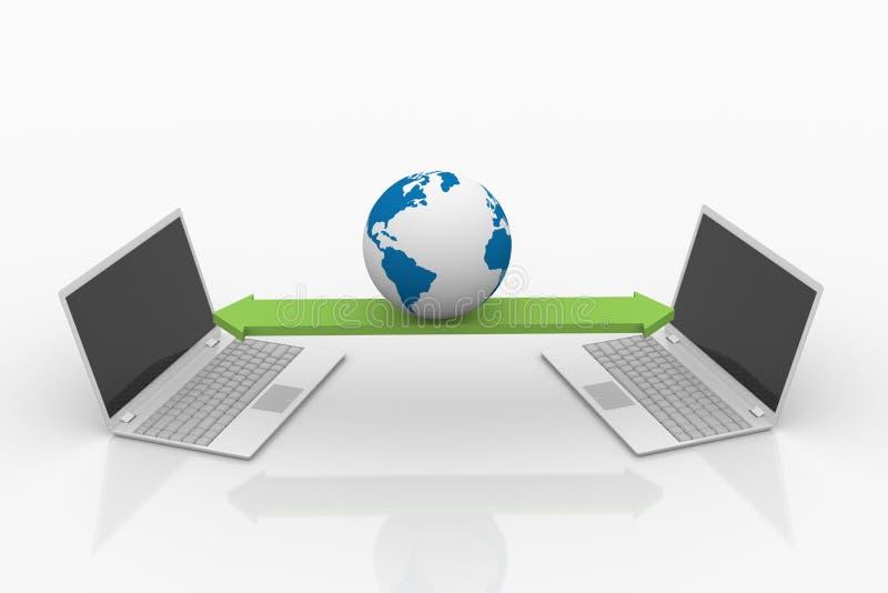 Dela data på datorer. stock illustrationer