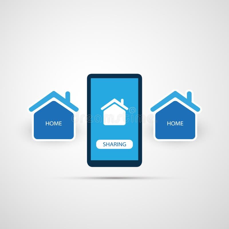 Dela ekonomi - hem- hyra eller jämlike till Peer Accommodation Design Concept stock illustrationer