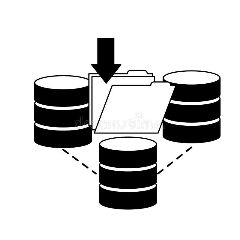 Dela för datafil för databasmittnedladdning stock illustrationer