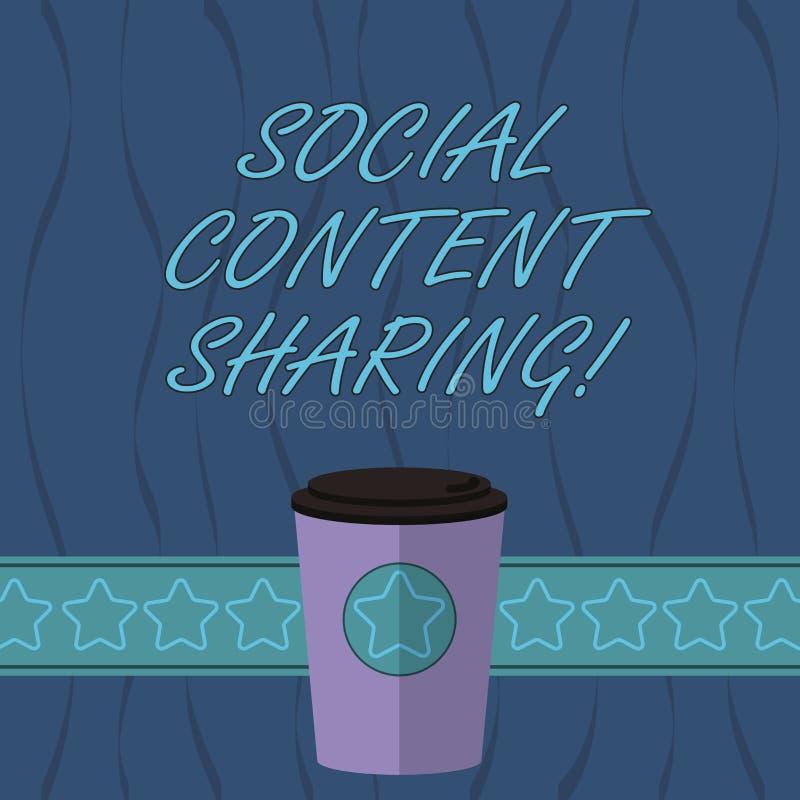 Dela för innehåll för ordhandstiltext socialt Affärsidé för fördelning av webpagen och blogginnehållet i socialt kaffe för massme stock illustrationer