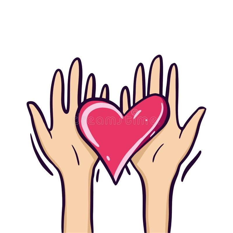 Dela hopp Välgörenhet och donation Ge och dela din förälskelse till folk hands hjärtaholdingsymbol bakgrund isolerad white stock illustrationer