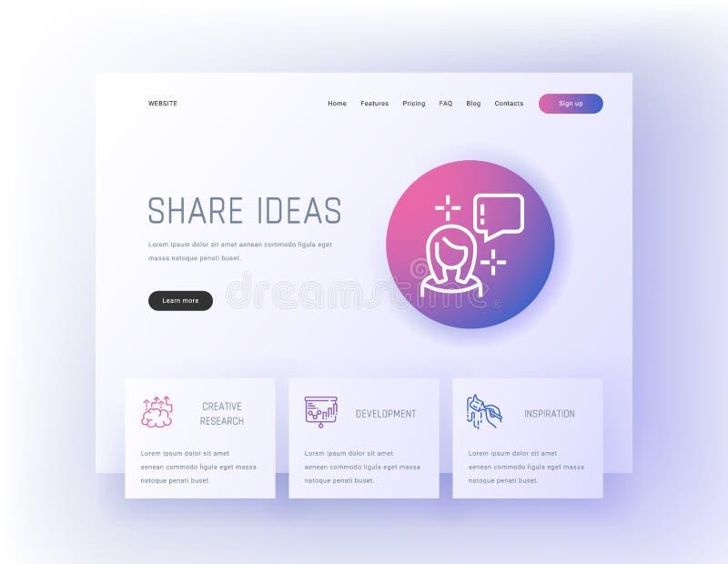 Dela idéer, idérik forskning, utveckling, mall för inspirationlandningsida vektor illustrationer