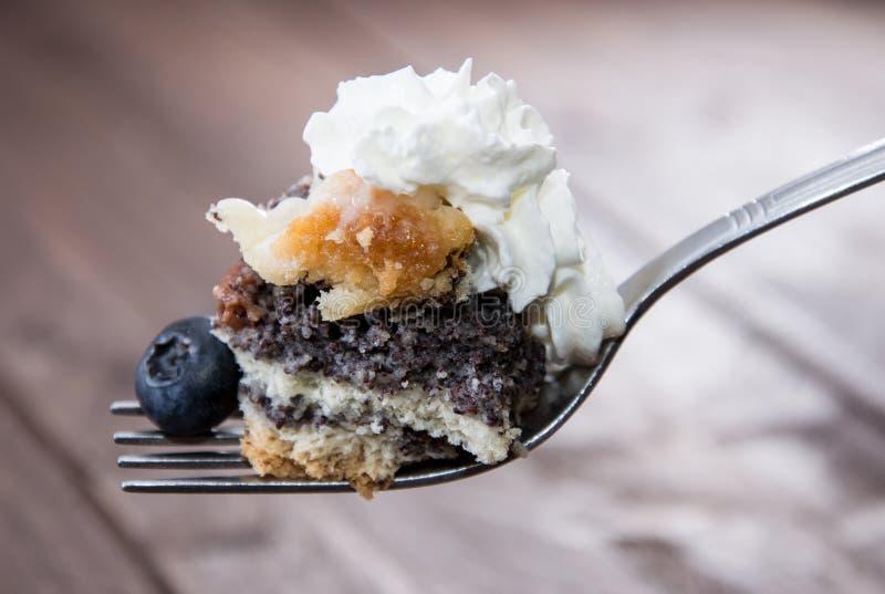 Dela sig med Vallmo-Kärnar ur tårtan royaltyfria bilder