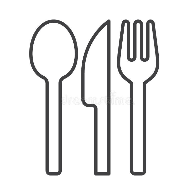 Dela sig sked- och knivlinjen symbolen, översiktsvektortecknet, den linjära stilpictogramen som isoleras på vit royaltyfri illustrationer