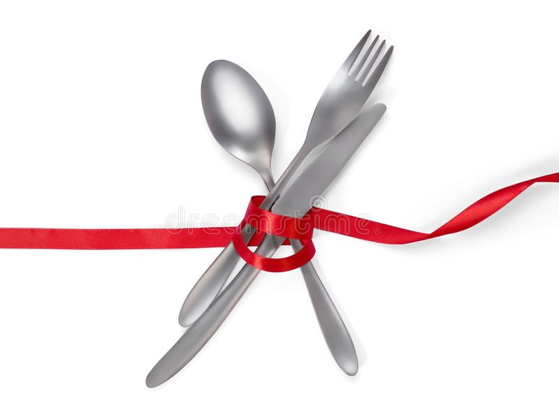 Dela sig, skeda och baktala bundet med ett rött band som isoleras på vit w arkivbild