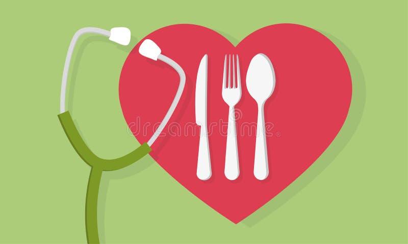 Dela sig skeden och kniven med hjärtaform och ett stetoskopläkarundersökningbegrepp vektor illustrationer