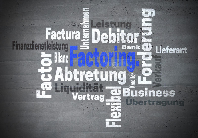 Dela upp i faktorer Abtretung Finanzdienstleistung (i tysk uppgift F royaltyfri bild