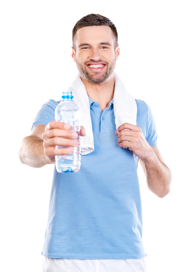 Dela vatten med dig royaltyfri foto