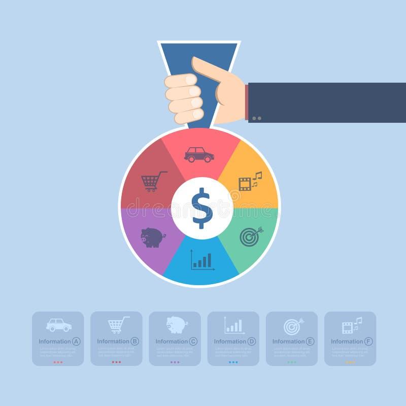Delad pengarpåse för hand innehav med symbolen stock illustrationer