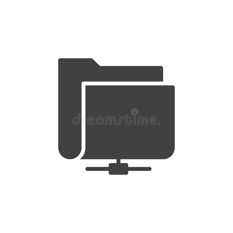 Delad vektor för nätverksmappsymbol, fyllt plant tecken, fast pictogram som isoleras på vit stock illustrationer