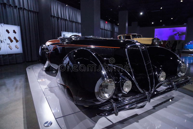 1938 Delahaye Type 135M Competition Roadster. Los Angeles, CA, USA — April 16, 2016: This black and orange 1938 Delahaye Type 135M Competition Roadster by royalty free stock images