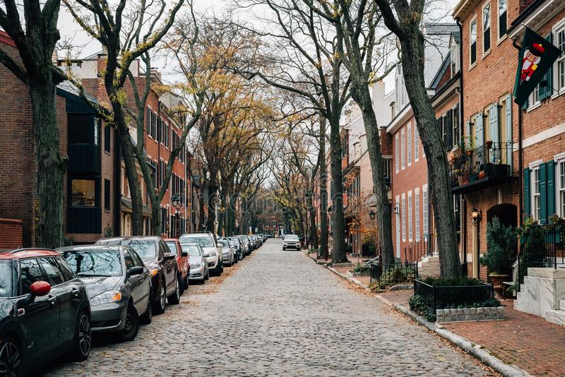 Delancey ulica w społeczeństwa wzgórzu, Filadelfia, Pennsylwania obrazy stock
